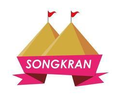 fita do festival songkran com montanhas vetor