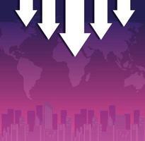 quebra do mercado de ações com setas para baixo e mapa mundial