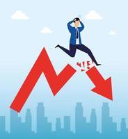quebra do mercado de ações com empresário e flecha para baixo