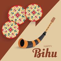 ilustração em vetor de um plano de fundo para o festival da colheita tradicional indiana de assam feliz bihu, ano novo de assam.