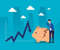 Quebra do mercado de ações com empresário e cofrinho