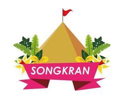 fita do festival songkran com montanha e flores vetor