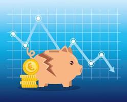 quebra do mercado de ações com cofrinho e ícones