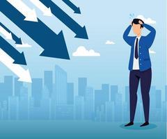 quebra do mercado de ações com empresário preocupado e flechas para baixo