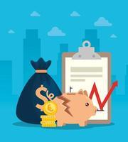 quebra do mercado de ações com cofrinho e ícones de negócios