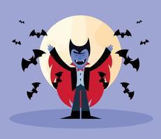 desenho de vampiro de halloween com desenho vetorial de morcegos vetor