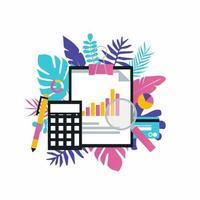 análise de negócios, contabilidade, relatório financeiro, gerenciamento de orçamento, design de ilustração vetorial de conceito financeiro para banners e aplicativos da web