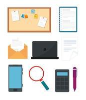 conjunto de ícones de escritório e gadget vetor