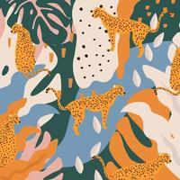 leopardos e ilustração em vetor fundo cartaz de folhas tropicais. padrão de vida selvagem na moda