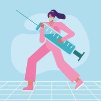 enfermeira montando uma seringa vetor