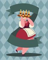 Banner de celebração de cerveja oktoberfest com desenho de mulher vetor