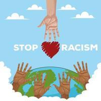 mãos inter-raciais alcançando todo o planeta, pare a campanha de racismo vetor