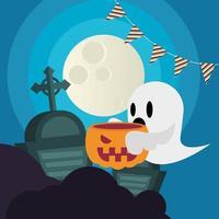 desenho de fantasma de halloween com abóbora em desenho vetorial de cemitério vetor