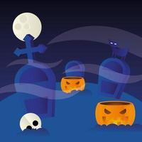 desenho vetorial de abóboras de halloween no cemitério vetor