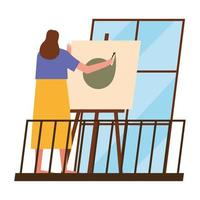 mulher pintando em casa vetor