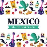 celebração do dia da independência do México com ícones vetor