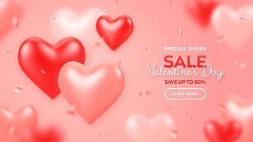 feliz Dia dos namorados. banner de venda de dia dos namorados com corações e confetes 3d de balões vermelhos e rosa. plano de fundo, papel de parede, panfleto, convite, cartaz, folheto, cartão de felicitações.