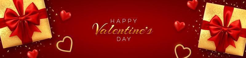 feliz dia dos namorados banner ou site de cabeçalho. caixas de presente realistas com laço vermelho e brilhantes corações de balões 3d vermelhos e dourados com textura de glitter e confetes sobre fundo vermelho.