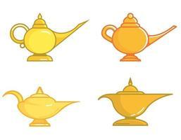 conjunto de diferentes lâmpadas mágicas. vetor