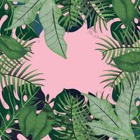 folhas verdes tropicais em fundo rosa