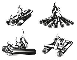 conjunto de fogueiras em estilo monocromático vetor