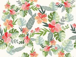 vintage retro roxo primavera verão romântico flor tropical selvagem e folha de palmeira padrão sem emenda estilo background.eps vetor
