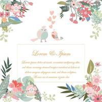 cartão de casamento vintage azul claro e rosa flor selvagem e folha padrão doce botânico tropical floresta estilo ilustração vetorial de fundo.
