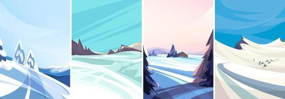 conjunto de paisagens de inverno em orientação vertical vetor