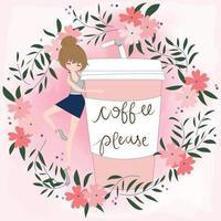 amante de café fofo desenho animado em moldura floral rosa