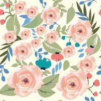 flor vintage fofa rosa sem costura e folhas