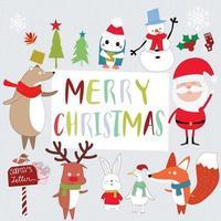 Papai Noel fofo e desenho de animal vetor