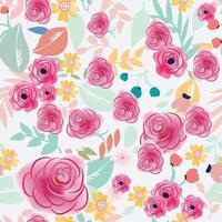padrão sem emenda de flor colorida pastel rosa e azul vetor