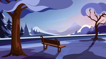 parque de inverno no fundo da floresta e montanhas vetor