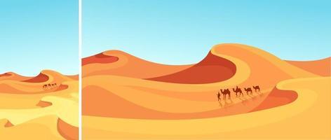 caravana passando pelo deserto vetor