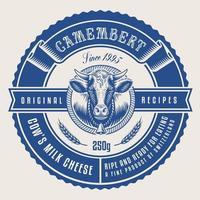 rótulo de queijo redondo em estilo vintage