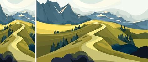 bela estrada de montanha vetor