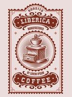 um rótulo de café vintage, este design pode ser usado como um modelo para uma embalagem de café