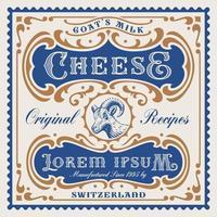 modelo de pacote de queijo de vetor em estilo vintage