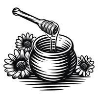 ilustração em vetor preto e branco de um pote de mel em gravura de estilo em fundo branco
