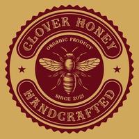rótulo de mel redondo vintage vetor