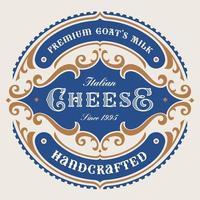 rótulo de queijo redondo vintage