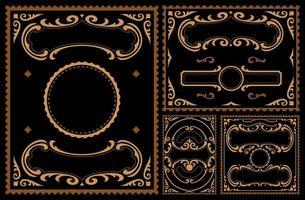 conjunto de bordas de vetor vintage em fundo escuro