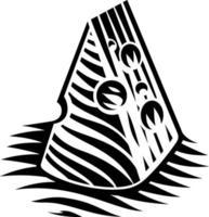 ilustração em preto e branco de um pedaço de queijo em estilo de gravura