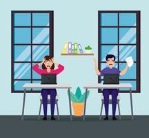 casal estressado no local de trabalho
