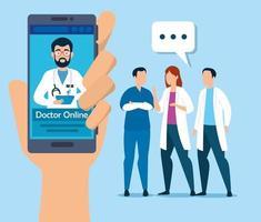 tecnologia online médico com smartphone e ícones
