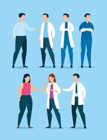 grupo de profissionais de saúde com pacientes