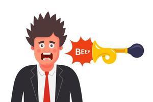 o homem assustou-se com o som inesperado. assustar uma pessoa com um bipe alto. ilustração de personagem plana vector. vetor