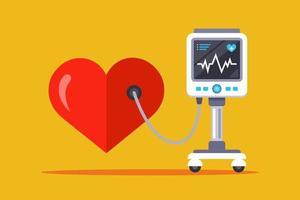 equipamento médico para medir a frequência cardíaca. ilustração vetorial plana