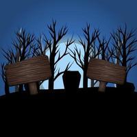desenho de luz de lua azul escuro de halloween com sinais vetor
