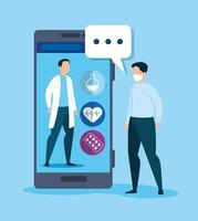 tecnologia de medicina online com smartphone e homem doente